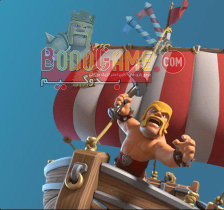 بربرین barbarian با تبر روی کشتی قایق چوبی